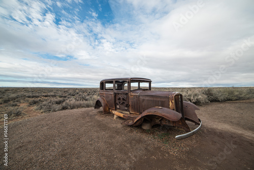 Photo  Rusty, Abandoned Car on Route 66, Petrified Forest National Park, Arizona