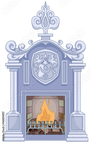 In de dag Sprookjeswereld Medieval Fireplace