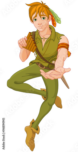Tuinposter Sprookjeswereld Boy Wearing Peter Pan Costume