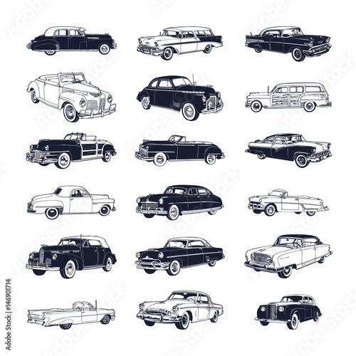 Fototapeta Ikony klasycznych samochodów na białym tle na zamówienie