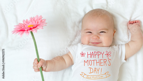 Fotografie, Tablou Mother's Day message with baby girl