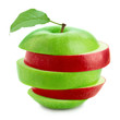 red and green apple slices with leaf isolated on white background