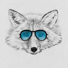 Panel Szklany Skandynawski Portrait of fox drawn by hand in pencil in sunglasses