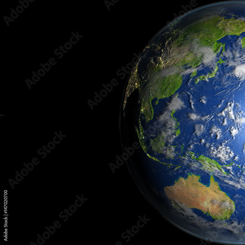 Map Of Australia From Space.East Asia And Australia From Space Buy This Stock Illustration And
