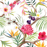 Fototapeta Sypialnia - Watercolor tropical floral pattern