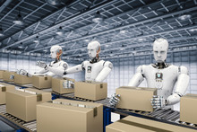 Robot Working With Carton Boxes