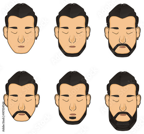 Illustration Cartoon People Man Face Head Hairdo Hair Style Fashion Closed Eyes Sleeps Model Variant Variations Diverse Example Pattern Asian Nationality Hairdresser Haircut Many Buy This Stock Illustration And Explore Similar