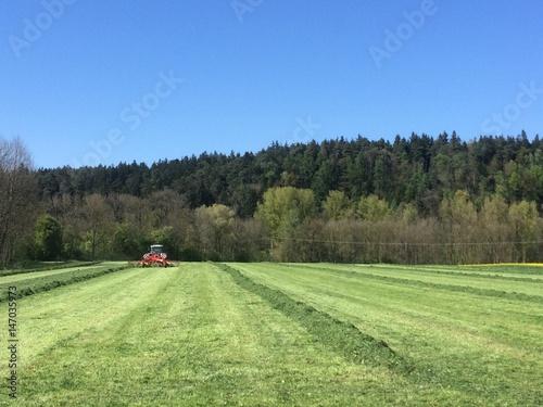 Poster Jaune Traktor mit Wender auf dem Feld