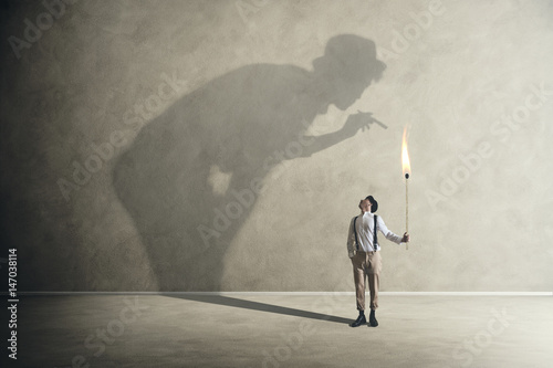 man with his shadow Wallpaper Mural