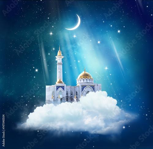 Staande foto Kasteel Ramadan Kareem background with mosque in sky