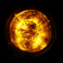 3D Atom Icon. Luminous Nuclear...