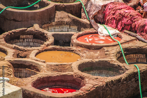 Leather washing on rooftops of Fez, Morocco