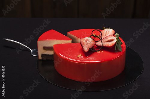 Strawberry Cake Covered With Red Mirror Glaze Decorated Berry Pieces Gold And Chocolate
