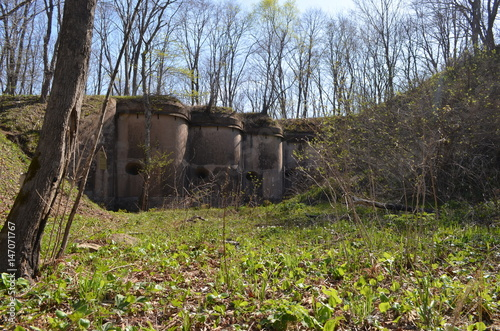 Foto op Plexiglas Vestingwerk Заброшенный форт в лесу