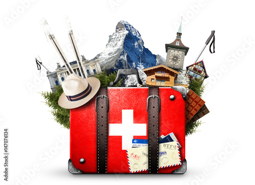 Fotografie, Obraz  Switzerland, retro suitcase with the sights of Switzerland