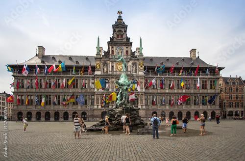 Poster Antwerp Cental square of Antwerpen, Belgium