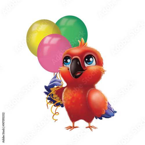 Cute Parakeet Parrot Holding Party Balloons Kids Happy Birthday From Happy Blue Eyed Hand Drawn Animated Cartoon Character For Greeting Or Post Card Banner Gift Card Poster Or Booklet Buy This Stock