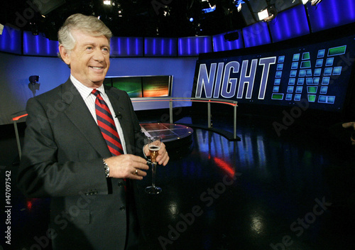 ABC news anchor Koppel smiles after signing off on his final