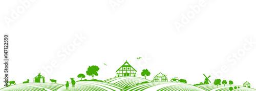Fotografie, Obraz Silhouette Bauernhof und Landwirtschaft