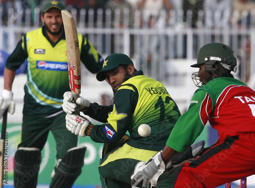 Pakistan's Mohammad Yousuf plays a shot off the bowling of