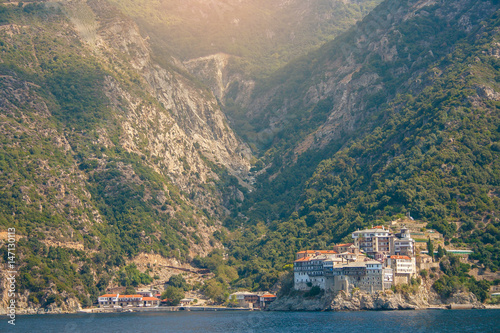Fotografie, Obraz  View from the sea to the temple on mount Athos in Greece