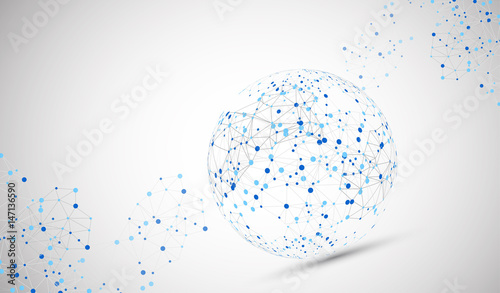 Fotografía Abstract technology sphere background. Global network consept.