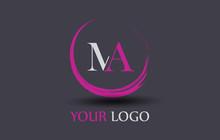 MA Letter Logo Circular Purple Splash Brush Concept.