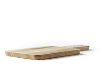 Small Rectangular Cutting Board On A White Background From Side