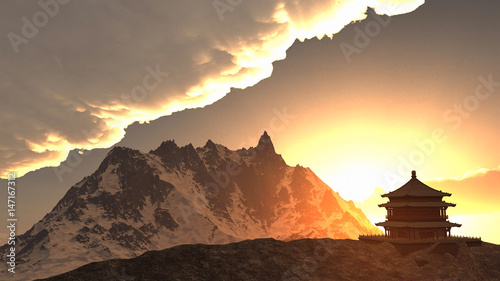 Photo Sun temple - Buddhist shrine in the Himalayas 3d rendering