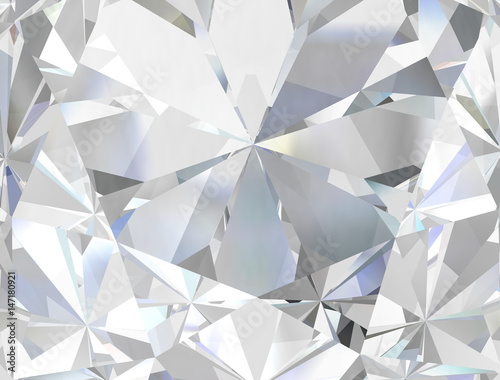 Valokuva  Realistic diamond texture close up, 3D illustration.