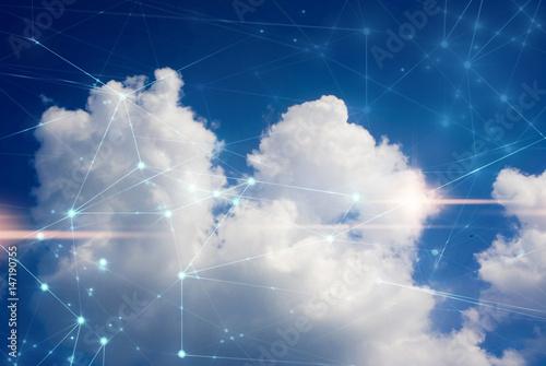 Cuadros en Lienzo cloud storage security information, data deep learning hologram ai technology ro