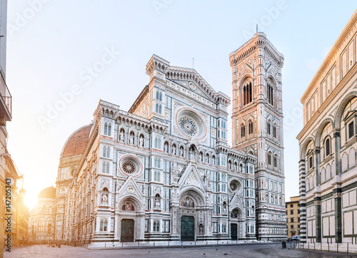 Aluminium Prints Florence Florence Cathedral Santa Maria del Fiore sunrise view, Tuscany, Italy