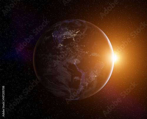 Plakat Planeta ziemia z wschodzącego słońca, widok z kosmosu. Elementy tego obrazu dostarczone przez NASA