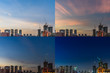 4 Moments of Sunset Downtown Singapore skyline dusk to night