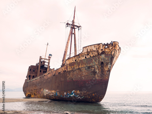 In de dag Schip Shipwreck in a beach
