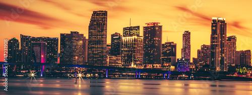 Aluminium Prints Red CIty of Miami at sunset