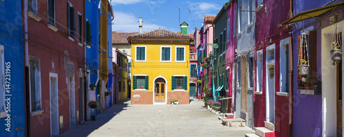 Beautiful street in Burano Fototapet