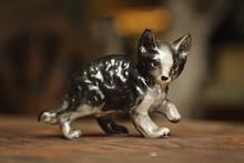 Bibelot Figurine Chat En Porcelaine Vintage
