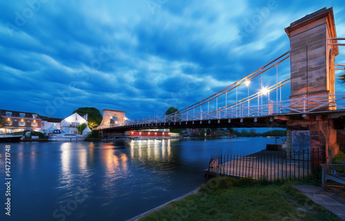 Twilight capture of the Marlow suspension bridge over the River Thames at Marlow Canvas Print