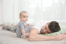 Father Fall Asleep With Cute B...