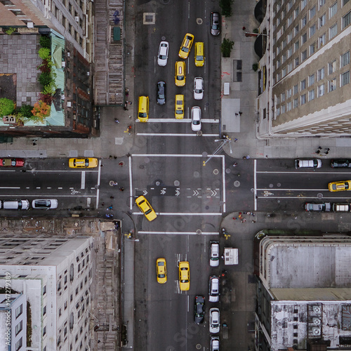 Spoed Foto op Canvas New York TAXI New York City Aerial