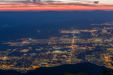Sunrise Over Palm Springs, California With Web Of Street Lights -2