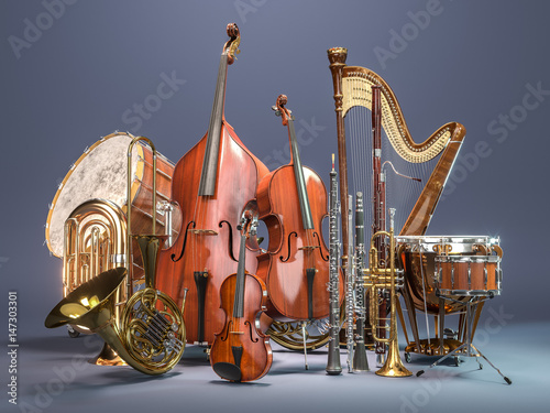 Cuadros en Lienzo Orchestra musical instruments on grey background. 3D rendering
