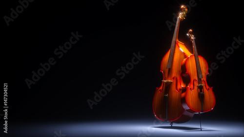 Photo Double bass and cello in dark studio 3D rendering