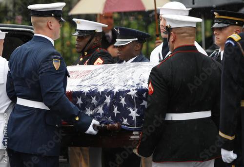 Senator Edward Kenedy Casket: Military Pallbearers Carry The Casket Of U.S Senator