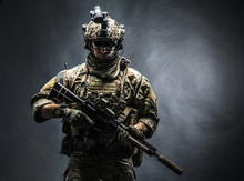 Army Soldier In Combat Uniform...
