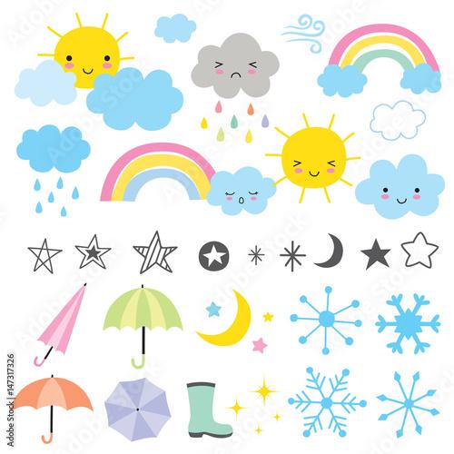 Fototapeta Vector illustration of weather forecast graphics. obraz