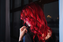 Beautiful Girl With Red Hair A...