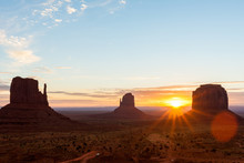 Monument Valley In Glow Of Sun...