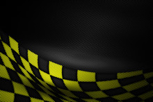 Yellow And Black Carbon Fiber Background.
